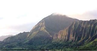 Nuuanu Pali and Koolua Mountains from Kaneohe, Oahu, Hawaii picture taken by ATAH.NET photographer for www.digital-picture-gallery.com